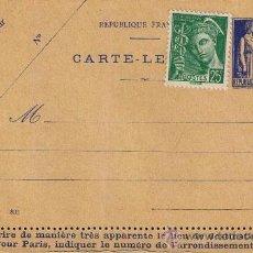 Sellos: FRANCIA, ENTERO POSTAL 1937 TIPO PAIX. Lote 31326840