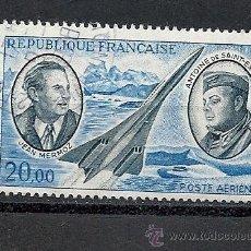 Sellos: FRANCIA 1970, YVERT AEREO Nº 44, PIONEROS DEL CORREO AEREO, MATASELLADO. Lote 36384163