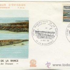 Sellos: SOBRE PRIMER DIA - FRANCIA - CONSTRUCCION PRESA MAREMOTRIZ DE LA RANCE 1966. Lote 38801705