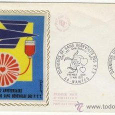 Sellos: SOBRE PRIMER DIA - FRANCIA - DONACIONES BENEFICAS DE SANGRE 1972. Lote 38802239