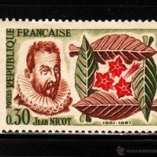 Sellos: FRANCIA 1286** - AÑO 1961 - 4º CENTENARIO DE LA INTRODUCCION DEL TABACO - FLORA - FLORES. Lote 177846869