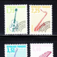 Sellos: FRANCIA PREOBLITERADO 224/27** - AÑO 1992 - MUSICA - INSTRUMENTOS MUSICALES. Lote 167552626