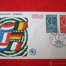 Sellos: SOBRE DEL PRIMER DIA DE CIRCULACIÓN. FRANCIA EMISIÓN EUROPA. 1966. Lote 47027370