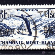 Sellos: FRANCIA 334 - AÑO 1937 - CAMPEONATO INTERNACIONAL DE ESQUI DE CHAMONIX. Lote 175553060