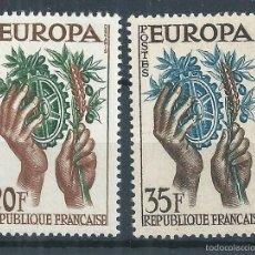 Sellos: R9/ FRANCIA EN NUEVO** 1957, Y&T 1122/23. Lote 56667877