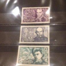 Sellos: SERIE 3 SELLOS POETAS FRANCESES 1951. Lote 58248790