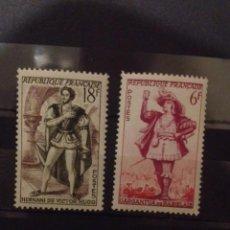 Sellos: 2 SELLOS 1953 PERSONAJES TEATRALES GARGANTUA DE RABELAIS Y HERNANI DE VICTOR HUGO. Lote 58299398