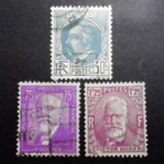 Sellos: FRANCIA 1933 A.BRIAND, P.DOUMER Y VICTOR HUGO, LUJO. Lote 71405671