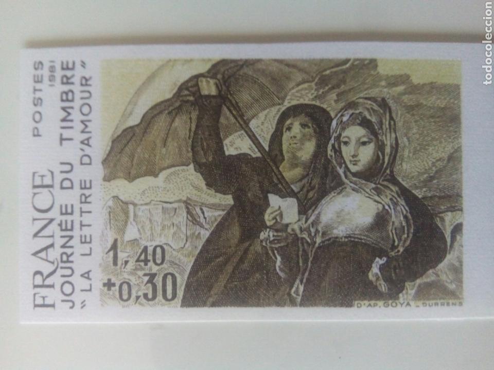 GOYA SELLO FRANCIA IVERT 2124, 4 SELLOS PRUEBA DE COLOR LA CARTA DE AMOR DIA DEL SELLO 1981 (Sellos - Extranjero - Europa - Francia)