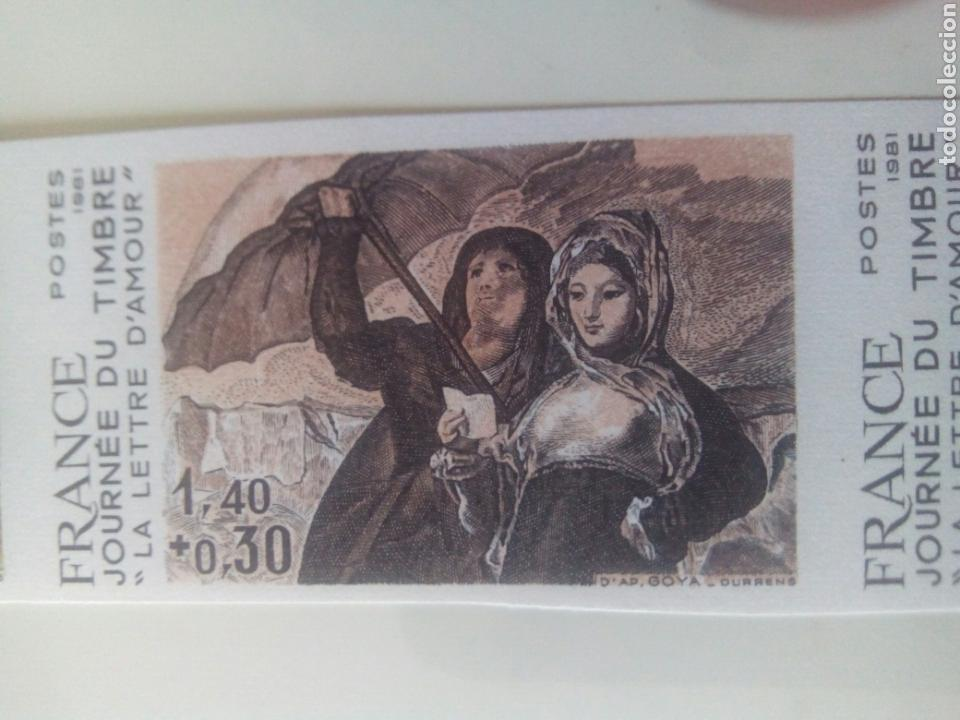 Sellos: Goya sello Francia ivert 2124, 4 sellos prueba de color la carta de amor dia del sello 1981 - Foto 2 - 72569457