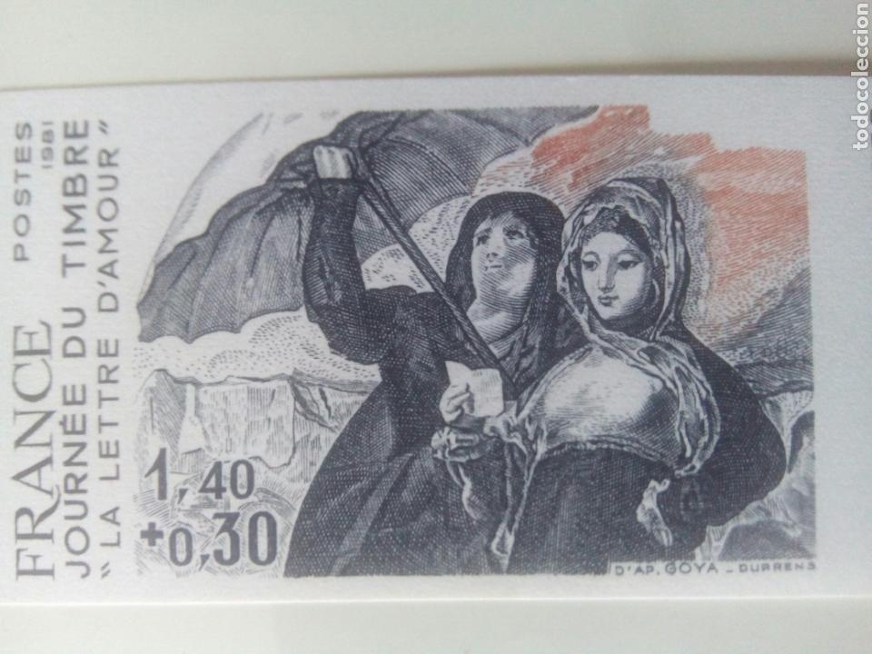 Sellos: Goya sello Francia ivert 2124, 4 sellos prueba de color la carta de amor dia del sello 1981 - Foto 3 - 72569457