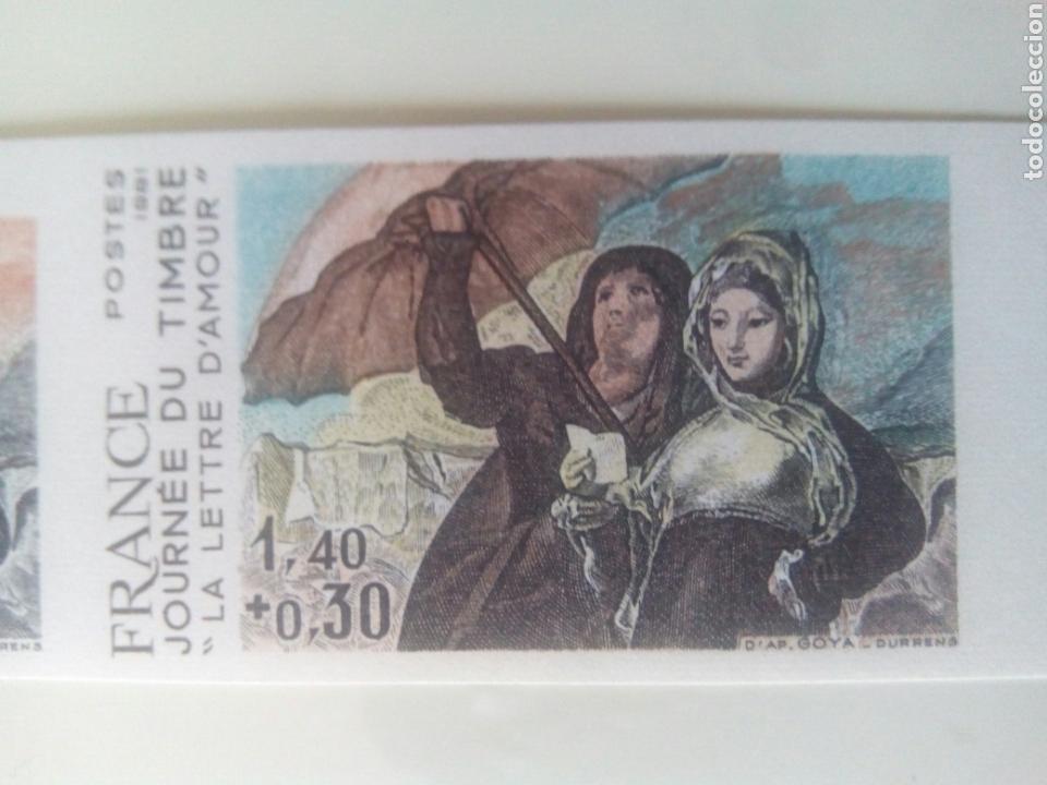 Sellos: Goya sello Francia ivert 2124, 4 sellos prueba de color la carta de amor dia del sello 1981 - Foto 4 - 72569457