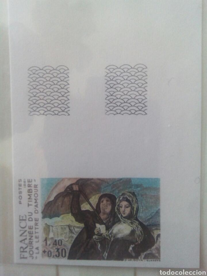 Sellos: Goya sello Francia ivert 2124 sello, sin dentar y prueba la carta de amor dia del sello 1981 - Foto 2 - 72572903