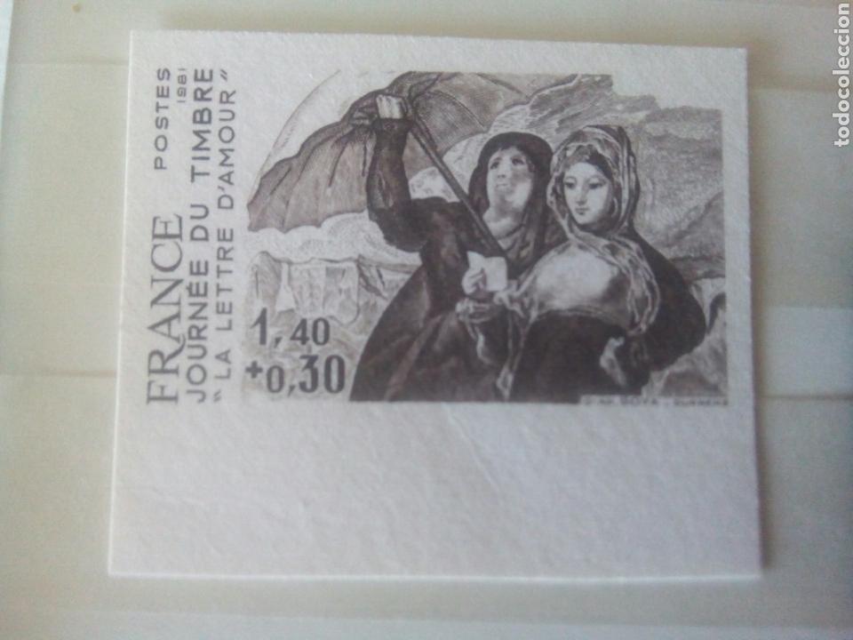 Sellos: Goya sello Francia ivert 2124 sello, sin dentar y prueba la carta de amor dia del sello 1981 - Foto 4 - 72572903