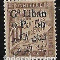 Sellos: GRAN LÍBANO 1924 TASA SELLO TASA DE FRANCIA DE 1893 CON SOBRECARGA NUEVO. Lote 78223637
