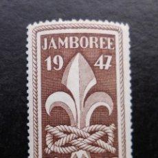 Sellos: FRANCIA 1947, JAMBOREE MUNDIAL EN MOISSON, NUEVO CON FIJASELLOS. Lote 82982260