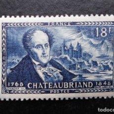 Sellos: FRANCIA 1948, CENTENARIO DE LA MUERTE DE FRANCOIS RENÉ VIZCONDE DE CHATEAUBRIAND (*). Lote 83050632