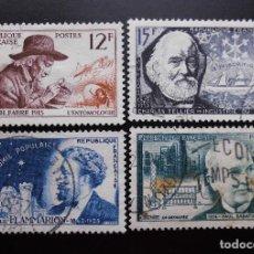 Sellos: FRANCIA 1956, INVENTORES E INVESTIGADORES CÉLEBRES, YVERT 1055 AL 1058 (O). Lote 83930168