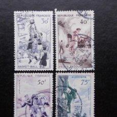 Sellos: FRANCIA 1956, SERIE DEPORTIVA , YVERT 1072 AL 1075 (O). Lote 83932692