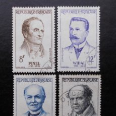 Sellos: FRANCIA 1958, GRANDES MÉDICOS , YVERT 1142 AL 1145 (O). Lote 84179000