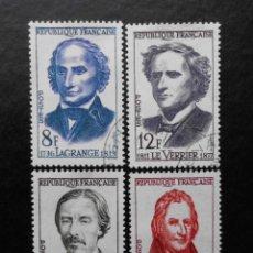 Sellos: FRANCIA 1958, GRANDES SABIOS, YVERT 1146 AL 1149 (O). Lote 84180332