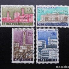 Sellos: FRANCIA 1958, CIUDADES RECONSTRUIDAS, YVERT 1152 AL 1055 (O). Lote 84186012