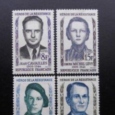 Sellos: FRANCIA 1958, HEROES DE LA RESISTENCIA, YVERT 1157 AL 1160 (*). Lote 84187008