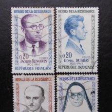 Sellos: FRANCIA 1961, HÉROES DE LA RESISTENCIA, YVERT 1288 AL 1291 (O). Lote 84374712