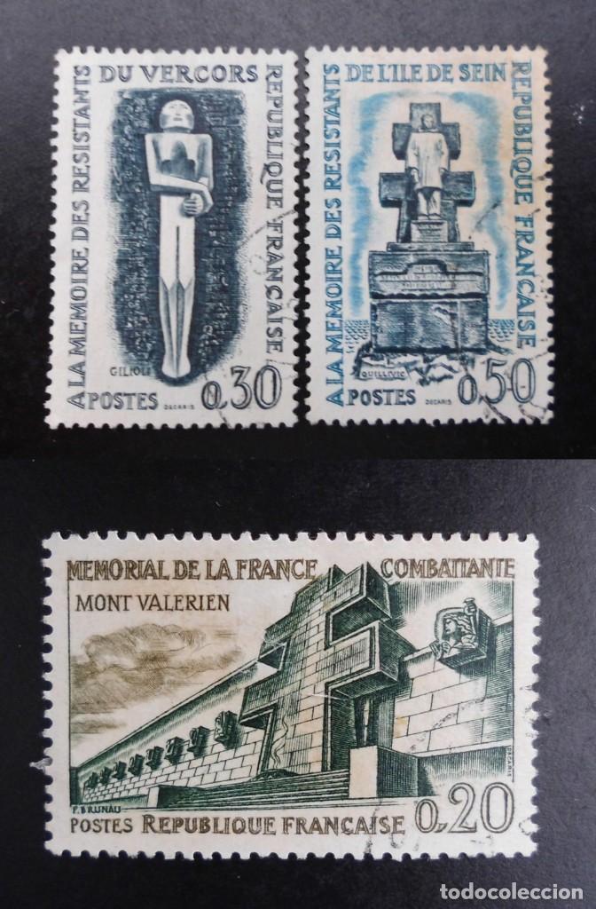 FRANCIA 1962, LUGARES DE LA RESISTENCIA, YVERT 1335 AL 1337 (O) (Sellos - Extranjero - Europa - Francia)