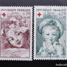 Sellos: FRANCIA 1962, A BENEFICIO DE LA CRUZ ROJA, YVERT 1366 Y 1367 (O). Lote 85051464