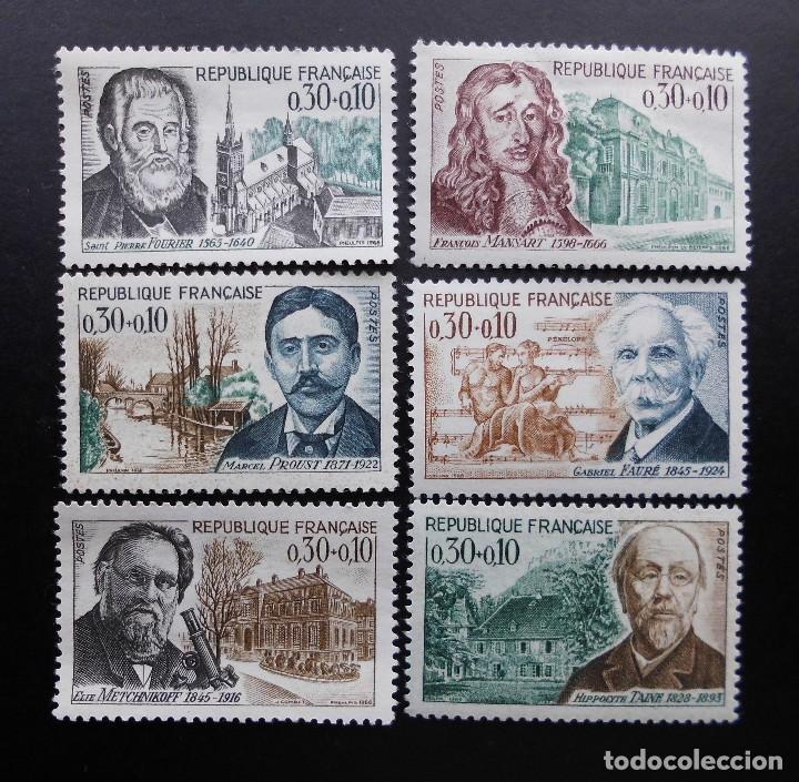 FRANCIA 1966, CELEBRIDADES, YVERT 1470 AL 1475 (O) (Sellos - Extranjero - Europa - Francia)