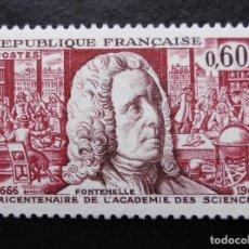 Sellos: FRANCIA 1966,9 TRICENTENARIO DE LA ACADEMIA DE CIENCIAS, YVERT 1487 (*). Lote 85060920