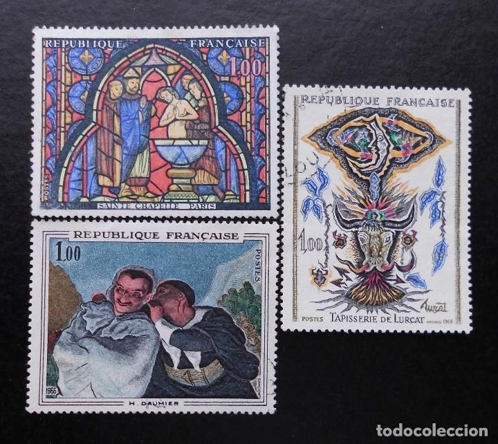 FRANCIA 1966, OBRAS DE ARTE, YVERT 1492 AL 1494 (O) (Sellos - Extranjero - Europa - Francia)