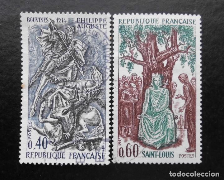 Sellos: FRANCIA 1967, HISTORIA DE FRANCIA, YVERT 1537 AL 1539 (O) - Foto 2 - 85069044