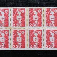 Sellos: FRANCIA 1990, CARNÉ TIPO MARIANNE DE BRIAT ROJO YVERT Nº 2629 (**). Lote 87946804