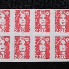 Sellos: FRANCIA 1990, CARNÉ TIPO MARIANNE DE BRIAT ROJO YVERT AUTOADESIVOS Nº 2629 (**). Lote 87951724
