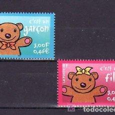 Sellos: FRANCIA 2001 IVERT 3377/8 *** SELLOS DE NACIMIENTO. Lote 88349332