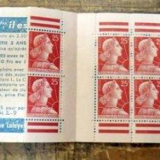 Sellos: FRANCIA,1955 - YVERT 1011C - MARIANNE DE MULLER , BLOCK INCOMPLETO CON 12 SELLOS. Lote 88430728