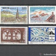 Sellos: FRANCIA 1996 IVERT 3018/21 *** TURISMO - IGLESIAS Y CATEDRALES - NATURALEZA. Lote 89204156
