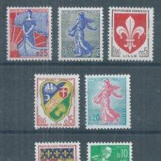 Sellos: R18/ FRANCIA NUEVOS ** MNH, Y&T 1230/34A, 1960, 7 VALORES. Lote 95698931