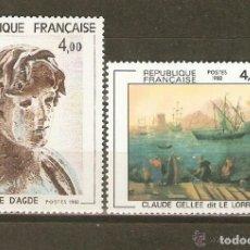 Sellos: FRANCIA 1982 IVERT 2210/11 *** ARTE - PINTURA DE EPHEBE DE AGDE Y CLAUDE GALLEE. Lote 97768699