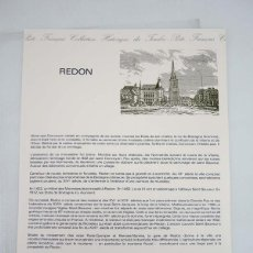 Sellos: COLLECTION HISTORIQUE DE TIMBRE 10-87. REDON POSTE FRANÇAIS, 1987. Lote 103692008