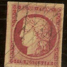 Sellos: FRANCIA YVERT 6 (º) TIPO CÉRÈS 1 FRANCO CAMÍN OSCURO II REPÚBLICA 1849 NL281. Lote 109903271