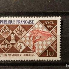 Sellos: SELLO NUEVO FRANCIA 1974. XXI JUEGOS OLIMPICOS DE AJEDRES NIZA 1974. 8 DE JUNIO DE 1974. Lote 109919403