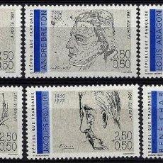Sellos: FRANCIA 1991 - PERSONAJES - POETAS - SERIE COMPLETA - YVERT Nº 2681-2686**. Lote 218796613