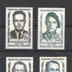 Sellos: FRANCIA 1958 IVERT 1157/60 *** HEROES DE LA RESISTENCIA (II) - PERSONAJES. Lote 111868359