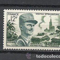 Sellos: FRANCIA 1954 IVERT 984 *** MARISCAL LECLERC - PERSONAJES - MILITARES. Lote 112245543