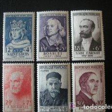 Sellos: FRANCIA 1954 IVERT 989/94 *** PERSONAJES CELEBRES SIGLOS XIII AL XX. Lote 112246815