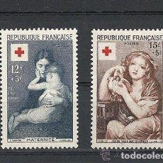 Sellos: FRANCIA 1954 IVERT 1006/7 *** CRUZ ROJA - OBRAS DE CARRIERE Y GREUZE - PINTURA. Lote 112247727