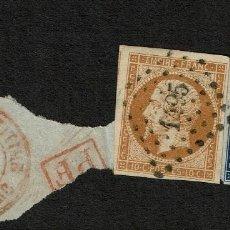 Sellos: FRANCIA, 1853 SELLOS USADOS ANTIGUOS. YVERT 13 Y 14. Lote 112371331